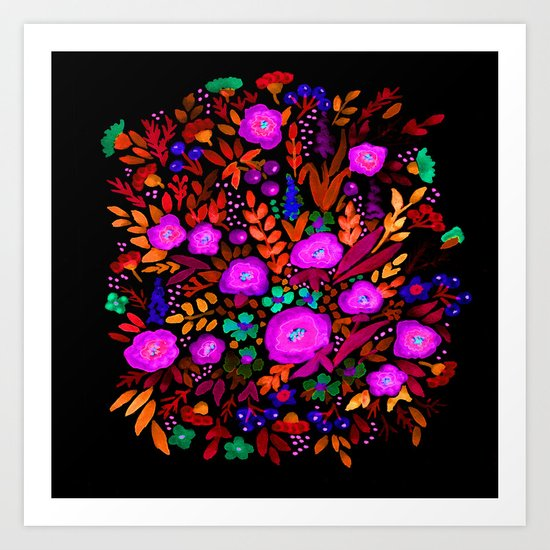Watercolor colorful flower pattern on a black background . Art Print
