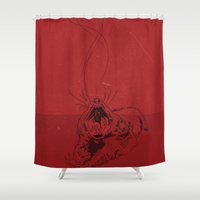 evil dead Shower Curtains featuring Evil by Stacy Nguyen