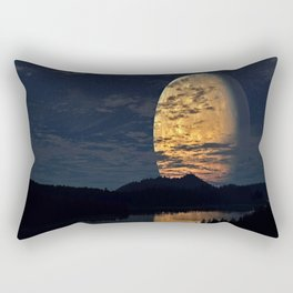 Giant moon with reflection on the river Rectangular Pillow