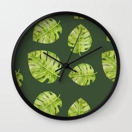 Watercolor Flowers Monstera Plant Wall Clock