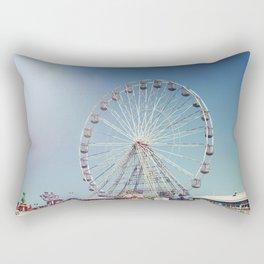 Fairground and ferris wheel against a blue sky, Blackpool Rectangular Pillow
