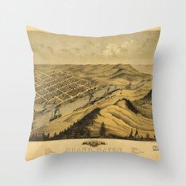 Bird's Eye View of Grand Haven, Michigan (1868) Throw Pillow
