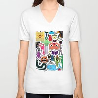 monsters V-neck T-shirts featuring Monsters by Fran Court