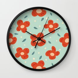 Simple Pretty Orange Flowers Pattern Wall Clock
