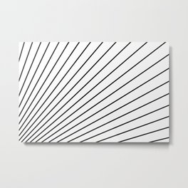 Black and White Radial Line Pattern Metal Print