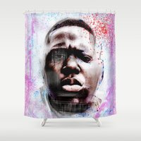 ariana grande Shower Curtains featuring Papi Grande by Art of Papi