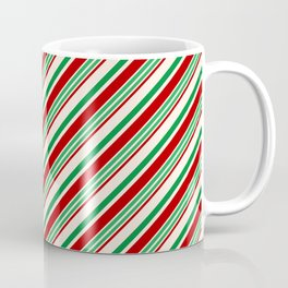Candy Cane Stripes Red Green and Cream Coffee Mug