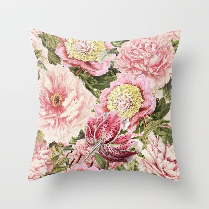 Vintage & Shabby Chic Floral Peony & Lily Flowers Watercolor Pattern Deko-Kissen