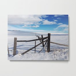 Montana Fence in Snow Metal Print
