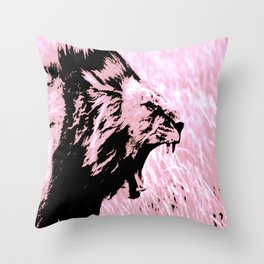 Roaring Pink Lion Throw Pillow