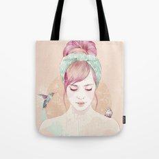 Pink hair lady Tote Bag