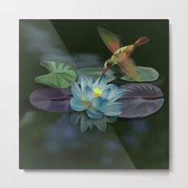 Lotus and hummingbird Metal Print