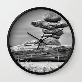 The Cairn in Black and White Wall Clock