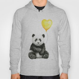 Panda with Yellow Balloon Baby Animal Watercolor Nursery Art Hoody