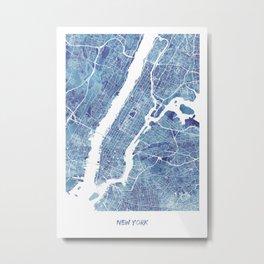 New York City Map United states watercolor Metal Print
