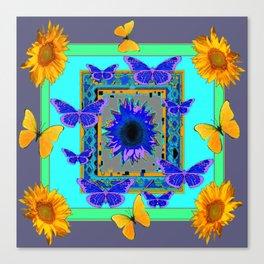 WESTERN BLUE & YELLOW BUTTERFLIES SUNFLOWERS Canvas Print