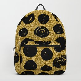 Hand Drawn Black Circle on Golden Background Backpack