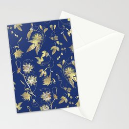 Elegant Gold Blue Passiflora Pattern Stationery Cards