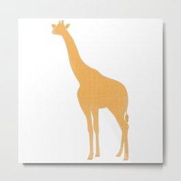 Blue Stitched Mama Giraffe Metal Print