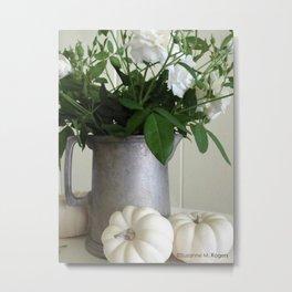 White Whisper Roses & White Pumpkins ~ Still Life Photograph ~ Autumn Decor Metal Print