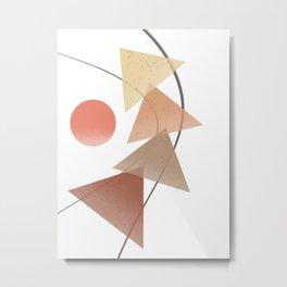 Geometric Abstract Art, Neutral Earth Tones, Mocha Autumn Harvest, Modern Minimalist, Wall Art, Home Decor Metal Print