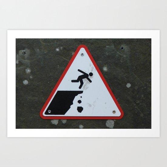 Caution Sign, Cliffs of Mohr Art Print