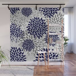 Abstract, Floral Prints, Navy Blue and Grey Wall Mural