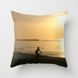 Biking on the Tayelet Throw Pillow
