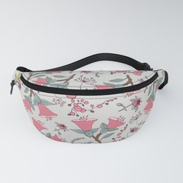 Pink flowers vector pattern, seamless vector pattern white background Fanny Pack