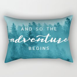 And So The Adventure Begins - Turquoise Forest Rectangular Pillow