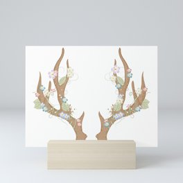 Antlers with flowers and leaves Mini Art Print