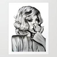rihanna Art Prints featuring Rihanna by Ellie Wilson Designs