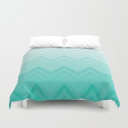Fading Teal Chevron Duvet Cover