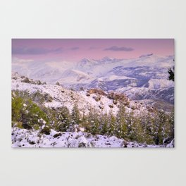 Sierra  nevada mountains at pink sunset Canvas Print