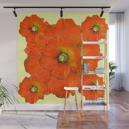 ORANGE DOUBLE  HOLLYHOCK FLOWERS YELLOW GARDEN Wall Mural