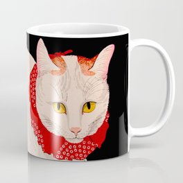 Shotei Takahashi White Cat In Red Outfit Black Background Vintage Japanese Woodblock Print Coffee Mug