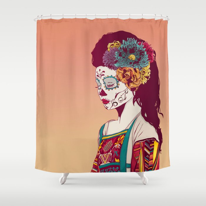 Mexican Skull Lady Shower Curtain By Hypathieaswang