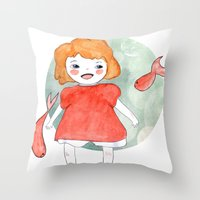 ponyo Throw Pillows featuring Ponyo by munieca