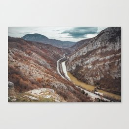 Beautiful picture of the canyon in Serbia, with river and the highway in the middle Canvas Print