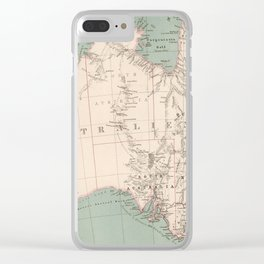 Vintage Topographic Map of Australia (1868) Clear iPhone Case