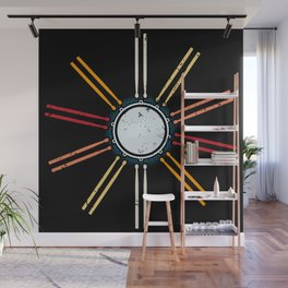Retro Musician Drums Wall Mural