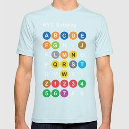 New York City subway alphabet map, NYC, lettering illustration, dark version, usa typography T-shirt