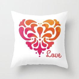 Rainbow Watercolor Damask Heart Throw Pillow