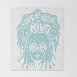 Open Your Mind in Mint Throw Blanket