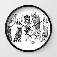 rock and roll Wall Clocks featuring rock & roll  by jun salazar