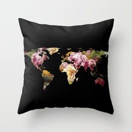 World Map Silhouette - Painting of Roses  Throw Pillow