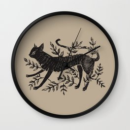 Cat in Vines Wall Clock