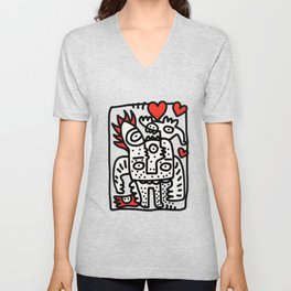 Spread Love Graffiti Art Black and White Red Heart  Unisex V-Neck
