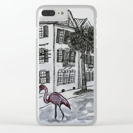 flamingo in the flooded streets of Charleston South Carolina Clear iPhone Case