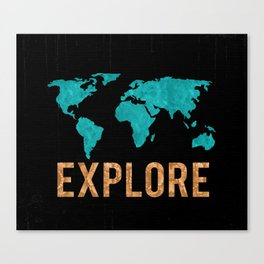 World Map - Teal and Copper Explore Globe Canvas Print
